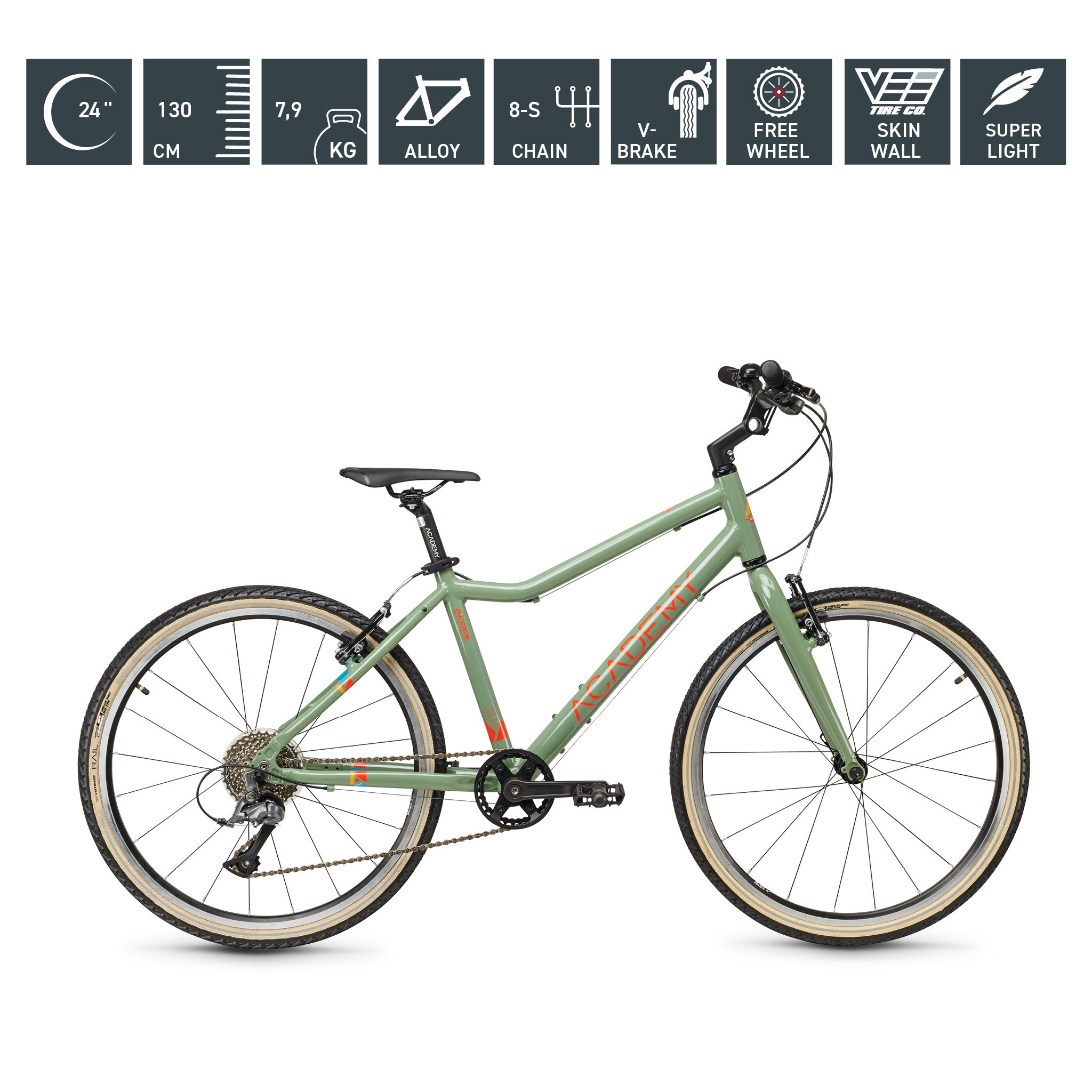 S`COOL  ACADEMY 24 Zoll - Grade 5 - 8-Gang - olive